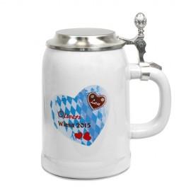 Bierkrug RADLER 500 ml grau mit Zinndeckel